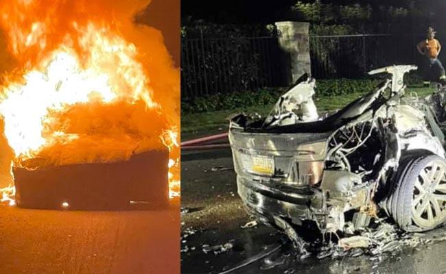 Tesla Top Of Range S Plaid Car Caught Fire In America  - Sakshi