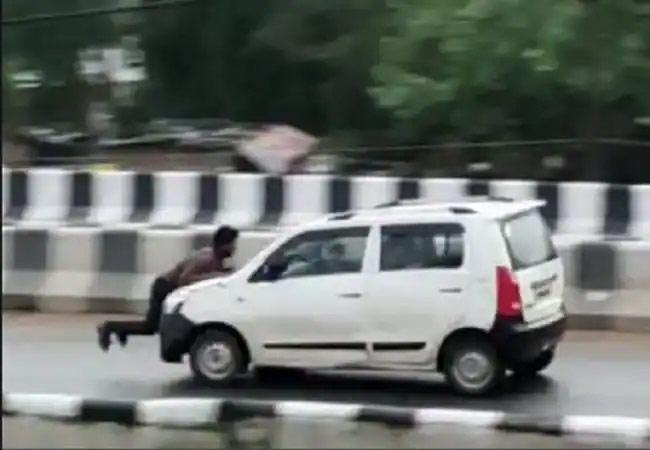 Car Driver Inhumanity Behaviour In Uttar Pradesh - Sakshi
