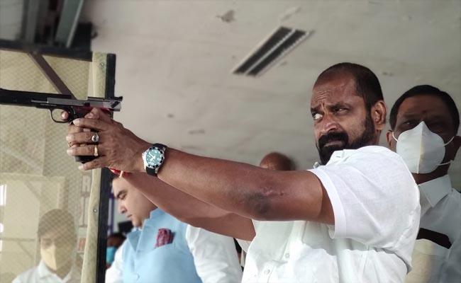 HYD: Minister Srinivas Goud Aim The Target At GFG Shooting Academy - Sakshi