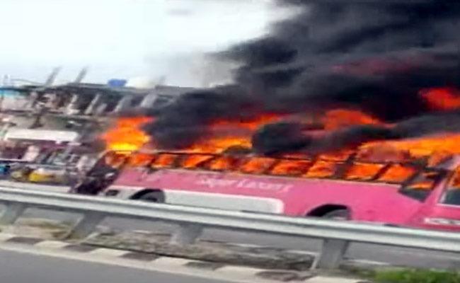 Fire Broke Out In AC Bus In Jangaon - Sakshi