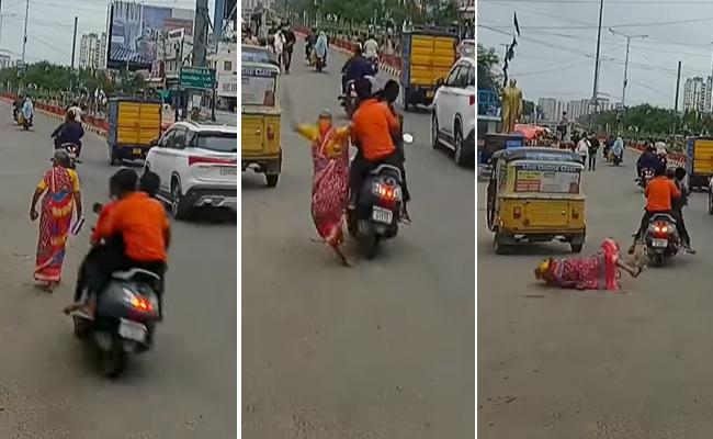 Hyderabad: Youth Rash Driving Old Lady Met Accident Near Narsingi Video Viral - Sakshi