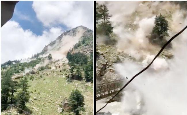 Terrifying Rockslide Caught On Tape In Himachal Pradesh Leaves Tourists Dead - Sakshi