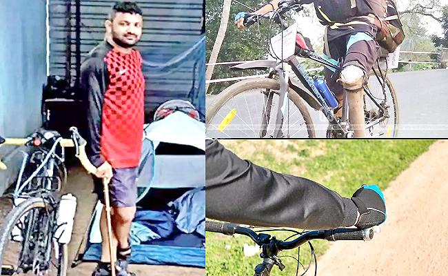 Kerala Differently Abled Man Cycles Ladakh Over 3700 Kilometers - Sakshi