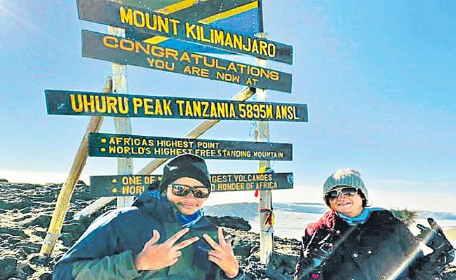 Dubai-based Indian mother-son duo scale Mount Kilimanjaro - Sakshi