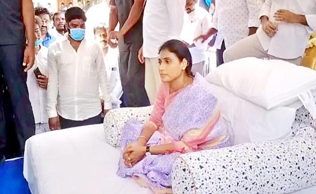 YS Sharmila Starts Protest Deeksha In Pullemla Village At Nalgonda District - Sakshi