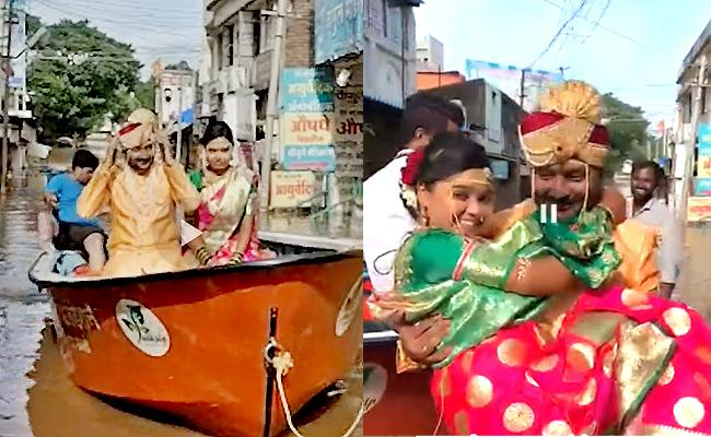 Boat Ride For Bride And Groom In Sangli Flooded Waters In Maharashtra - Sakshi