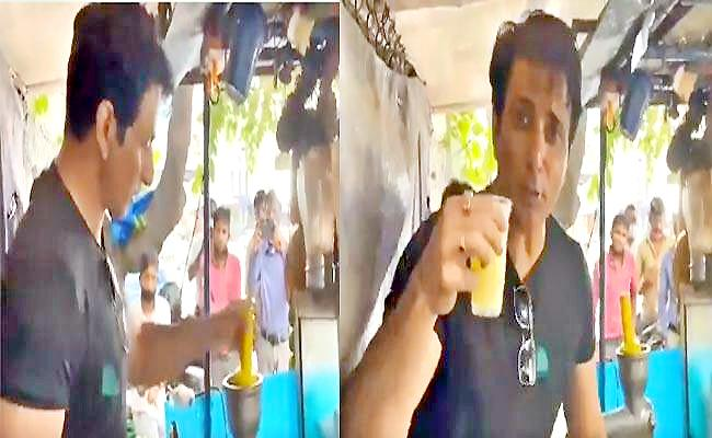 Sonu Sood Selling Mosambi Juice In Hyderabad, Video Viral - Sakshi