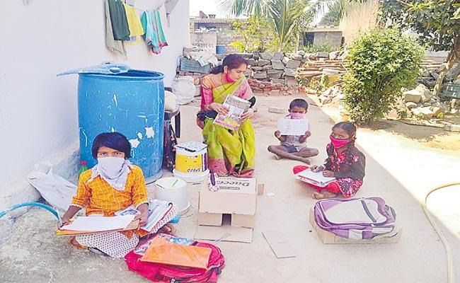 Teacher Lessons For Students Who Do Not Have Online Facility - Sakshi