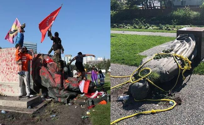 Canada Protesters Demolish Queen Victoria Queen Elizabeth Statues Over Child Genocide - Sakshi