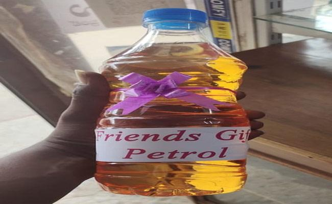 Couple Receives Petrol Bottles As Wedding Gift In Jangaon - Sakshi