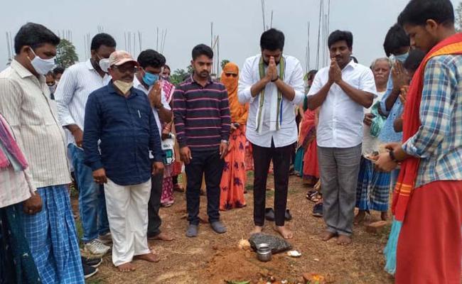 Foundation Record House Constructions In Srikakulam  - Sakshi