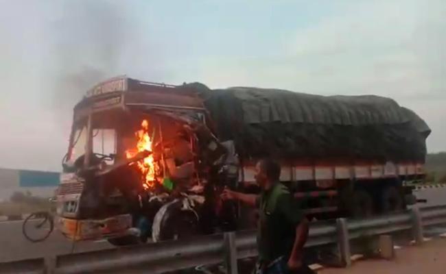 Fire truck accident at NH 16 Road Srikakulam In Andhra Pradesh - Sakshi