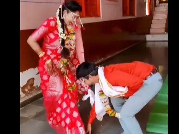 Groom Takes Bride Ashirwaad After Wedding Goes Viral - Sakshi