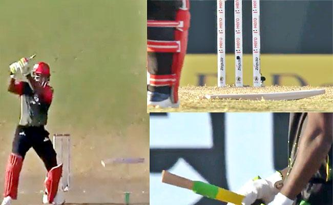 Chris Gayle Bat Shattered Two Pieces Odean Smith Bowling CPL 2021 - Sakshi