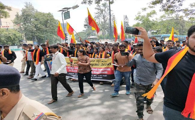 Protest Against Hindi Divas In Karnataka - Sakshi