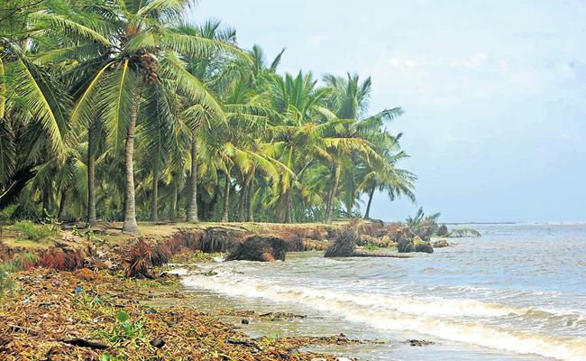 Ocean looming over Chinagollapalem island Andhra Pradesh - Sakshi