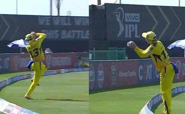 KKR vs CSK:Faf Du Plessis Takes A Brillint Catch - Sakshi