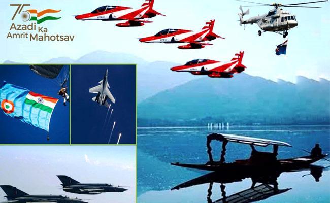 Indian Air Force Conduct air show in Jammu and Kashmir - Sakshi