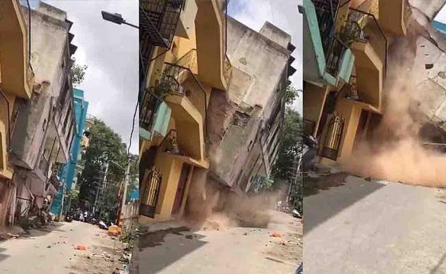 Bengaluru Building Collapse Video After Metro Labourers Vacate - Sakshi