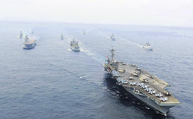 Ongoing Malabar acrobatic Indian Navy - Sakshi