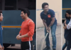 Varun, Abhishek play gully cricket with Sachin Tendulkar - Sakshi
